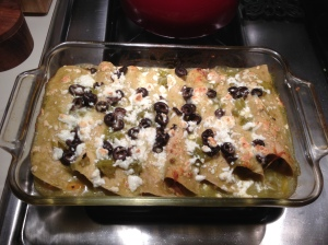 Finished product: Butternut squash and chicken enchiladas