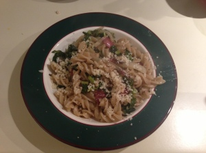 Finished Product: Brown Rice Pasta with Kale, Shiitake and Turkey Bacon