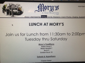 "Lunch Menu from Mory's featuring ""traditional"" Welsh Rarebit"