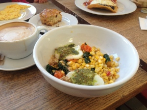 Poached Eggs with Seasonal Veggies, Pesto and Breadcrumbs
