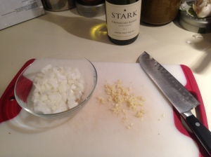 Prep Step: Dice onion and mince garlic.