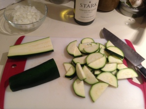 Prep Step: Cut zucchini into half moons.