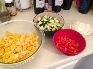 Prep Step: Dice veggies and set aside.