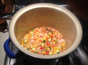 Step 2: Add veggies to pickling liquid, bring to a boil and simmer for 5 minutes.