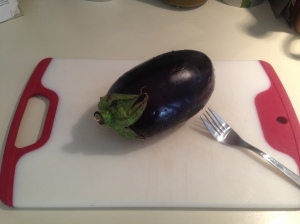 Prep Step: Prick eggplant with fork prior to boiling.