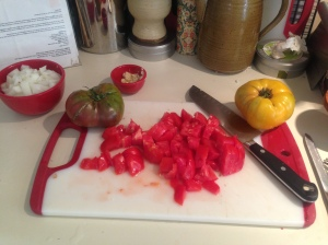 Prep Step: Chop tomatoes for sauce.