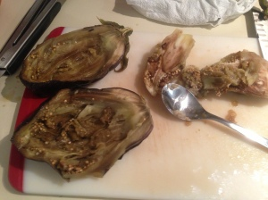 Step 6: Scoop out eggplant innards.