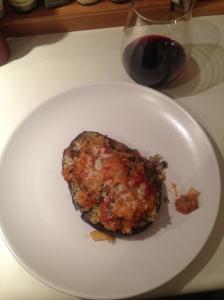 Stuffed Eggplant with Quinoa. Turkey Sausage and Heirloom Tomato Sauce
