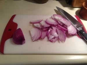 Prep Step: Thinly slice onion.