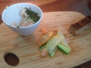 Smoked Idaho Trout Rillettes, Rutiz Farm persian cucumber, Hosui asian pear, Laura's pink lemons, dill & whole wheat bread