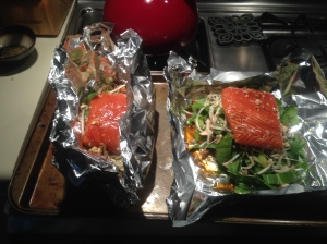 Step 6: Pour half of sauce over fish and veggies. Fold foil to keep liquids from running out.