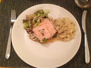 Salmon, Bok Choy, and Shiiitakes (with quinoa on the side)