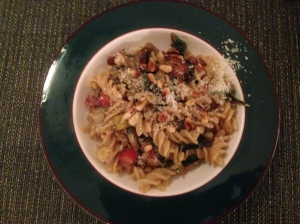Pasta with Swiss Chard, Turkey Bacon, Golden Raisins and Pine Nuts