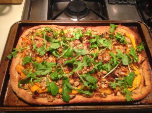 Recipe 2: Butternut Squash Pizza with Caramelized Onions, Blue Cheese, Walnuts and Arugula