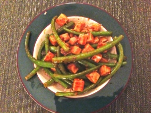 (Faux Szechuan) Sweet and Spicy Green Beans and Tofu