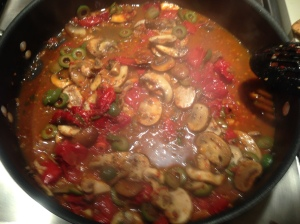 Step 5: Combine mushrooms, tomatoes, olives and liquid.