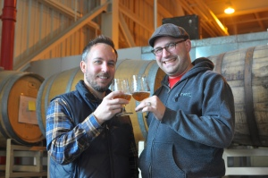 Damian Fagan, left, and Jesse Friedman, right, of Almanac Beer Company