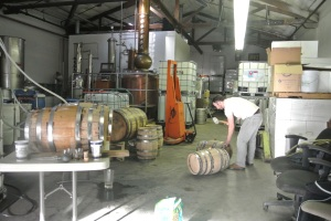Filling barrels with whiskey