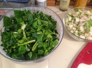 Prep Step: Trim chard stems and cut leaves into ribbons.