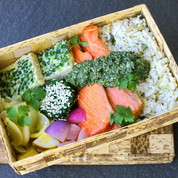 Sprig Guest Chef Kyle Connaughton's Salmon Bento Box