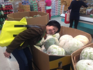 Andrea poses with the winter melons