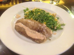 Seared Rockfish with Fried Green Tomatoes at Larks, Ashland