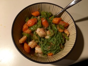 Another experiment - Orange Shrimp and Snap Peas on Spinach Noodles