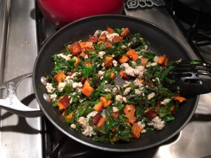 Sausage, sweet potato and kale hash