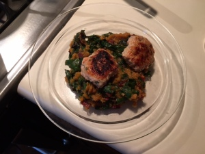 Butternut squash and chard risotto topped with chicken apple sausage