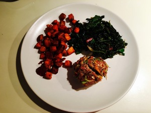 Turkey Meatloaf Muffin with roasted sweet potatoes and sauteed greens